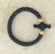 33-Knot Bracelet with Cross Bar - 2 ply with Olive Wood Beads
