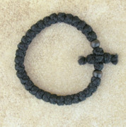 33-Knot Bracelet with Cross Bar - 2 ply with Black Wood Beads