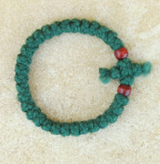 33-Knot Bracelet with Cross Bar - 2 ply Forest Green