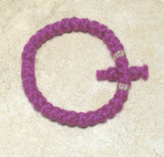 33-Knot Bracelet with Cross Bar - 2 ply Magenta