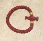 33-Knot Bracelet with Cross Bar - 2 ply Red
