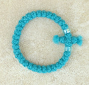 33-Knot Bracelet with Cross Bar - 2 ply Teal Blue