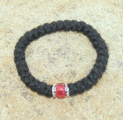 33-Knot Bracelet with Accents - 3 ply with Red Bead
