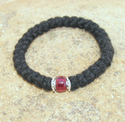 33-Knot Bracelet with Accents - 3 ply with Garnet Bead