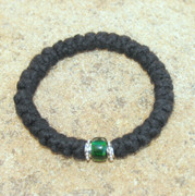 33-Knot Bracelet with Accents - 3 ply with Green Bead