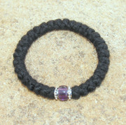 33-Knot Bracelet with Accents - 3 ply with Purple Bead