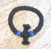 33-Knot Bracelet with Cross Bar - 3 ply with Blue Beads