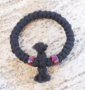 33-Knot Bracelet with Cross Bar - 3 ply with Garnet Beads