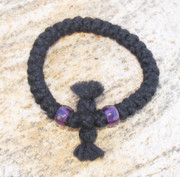 33-Knot Bracelet with Cross Bar - 3 ply with Purple Beads