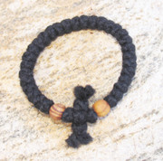 33-Knot Bracelet with Cross Bar - 3 ply with Wooden Beads