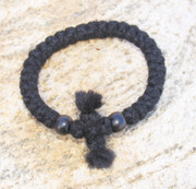 33-Knot Bracelet with Cross Bar - 3 ply with Black Wood Beads