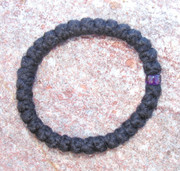 33-Knot Bracelet with Single Bead - 2 ply with Purple Bead