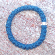33-Knot Bracelet with Single Bead - 2 ply Cobalt Blue