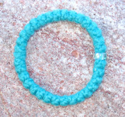 33-Knot Bracelet with Single Bead - 2 ply Teal Blue