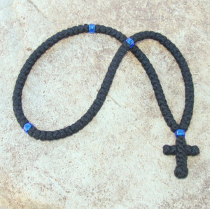 100-Knot Greek Prayer Rope - 4 ply with Blue Beads