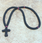 100-Knot Greek Prayer Rope - 4 ply with Garnet Beads