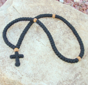 100-Knot Greek Prayer Rope - 4 ply with Wooden Beads