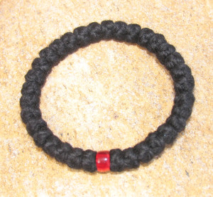 33-Knot Bracelet with Single Bead - 4 ply with Red Bead