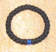 33-Knot Bracelet with Single Bead - 4 ply with Blue Bead