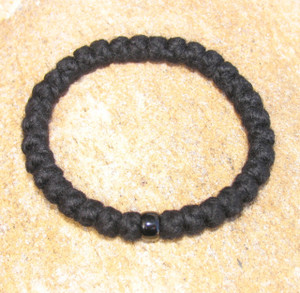 33-Knot Bracelet with Single Bead - 4 ply with Black Bead