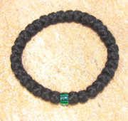 33-Knot Bracelet with Single Bead - 4 ply with Green Bead