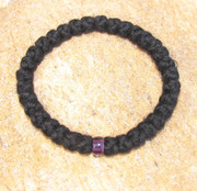 33-Knot Bracelet with Single Bead - 4 ply with Purple Bead