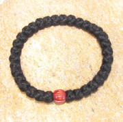 33-Knot Bracelet with Single Bead - 4 ply with Wooden Bead