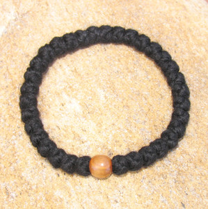 33-Knot Bracelet with Single Bead - 4 ply with Olive Wood Bead