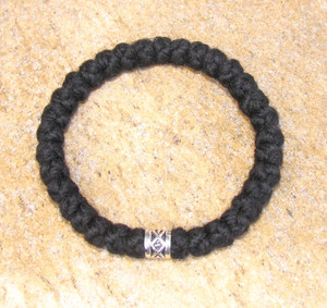 33-Knot Bracelet with Single Bead - 4 ply with Silver Metallic Bead