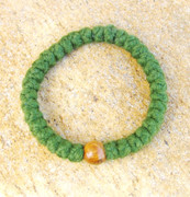 33-Knot Bracelet with Single Bead - 4 ply Pine Green