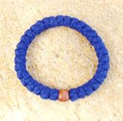 33-Knot Bracelet with Single Bead - 4 ply Royal Blue