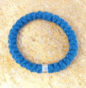 33-Knot Bracelet with Single Bead - 4 ply Steel Blue