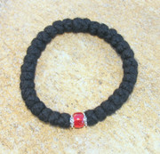 33-Knot Bracelet with Accents - 4 ply with Red Bead