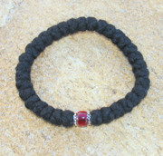 33-Knot Bracelet with Accents - 4 ply with Garnet Bead