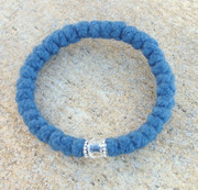 33-Knot Bracelet with Accents -  4 ply Steel Blue