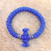 33-knot Bracelet with Cross Bar - 4 ply Adriatic Sea Blue