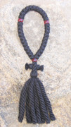 33-Knot Russian Prayer Rope - 4 ply with Garnet Beads