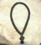50-Knot Greek Prayer Rope - 4 ply with Green Beads