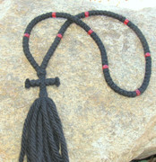 100-Knot Russian Prayer Rope - 4 ply with Red Beads
