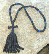 100-Knot Russian Prayer Rope - 4 ply with Blue Beads