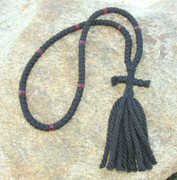 100-Knot Russian Prayer Rope - 4 ply with Garnet Beads