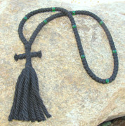 100-Knot Russian Prayer Rope - 4 ply with Green Beads