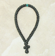 50-Knot Greek Prayer Rope - Satin with Green Bead