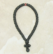 50-Knot Greek Prayer Rope - Satin with Wooden Bead