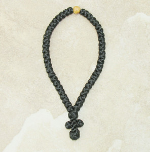 50-Knot Greek Prayer Rope - Satin with Olive Wood Bead