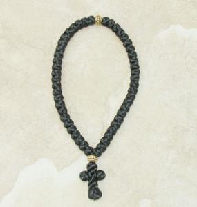 50-Knot Greek Prayer Rope - Satin with Gold Metallic Bead