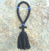33-knot Russian Prayer Rope - 3 ply with Blue Beads