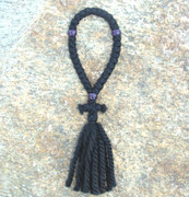 33-knot Russian Prayer Rope - 3 ply with Purple Beads