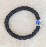 33-knot Bracelet with Accents - 2 ply with Blue Bead
