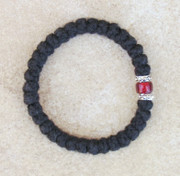 33-knot Bracelet with Accents - 2 ply with Garnet Bead